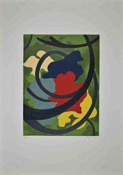 Abstract Flowers - Original Lithograph by Amintore Fanfani - 1972