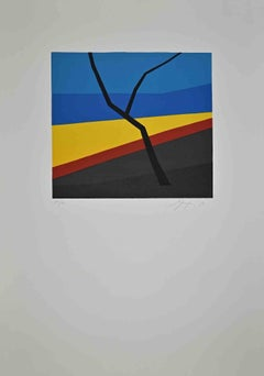 Branch in the Abstract Landscape - Original Lithograph by A. Fanfani - 1972