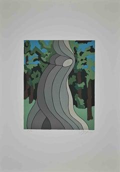 Figure in the Landscape - Original Lithograph by Amintore Fanfani - 1972