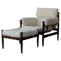 """Amiral"" Rosewood Lounge Chair and Ottoman by Eric Merthen, Sweden, 1950s"