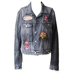 Amiri Appliquéd Embellished Distressed Denim Jacket