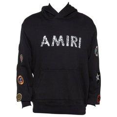 Amiri Black Logo Print Cotton Mix Patch Hooded Sweatshirt M