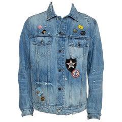 Amiri Blue Distressed Denim Pink Floyd Jacket XL