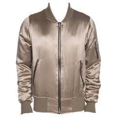 Amiri Dark Beige Silk Rib Knit Trim Zip Front Bomber Jacket L