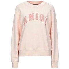 Amiri Leather Trimmed Cotton Jersey Sweatshirt
