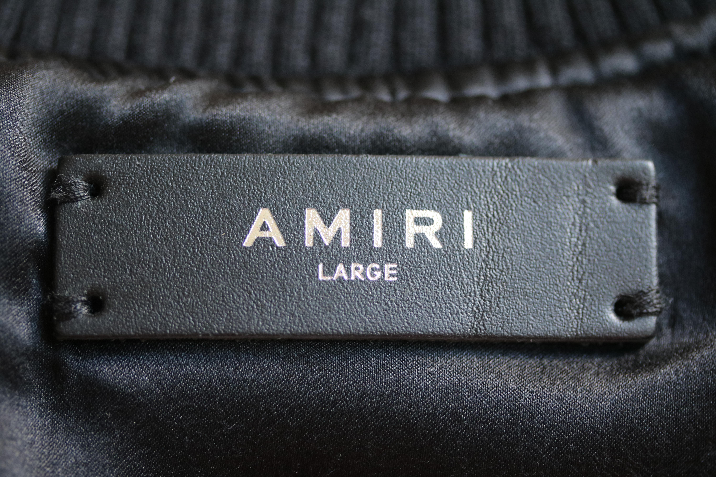 37e697540 Amiri Leopard Print Silk Satin Bomber Jacket