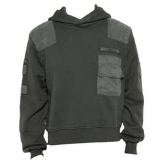 Amiri Military Green Cotton Knit Patched Detail Hoodie XS