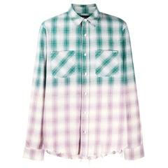 Amiri Ombre Metallic Plaid Cotton Flannel Shirt