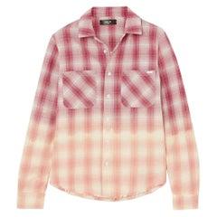 Amiri Ombré Metallic Plaid Cotton Flannel Shirt