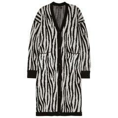 Amiri Zebra Print Cashmere & Wool Blend Cardigan
