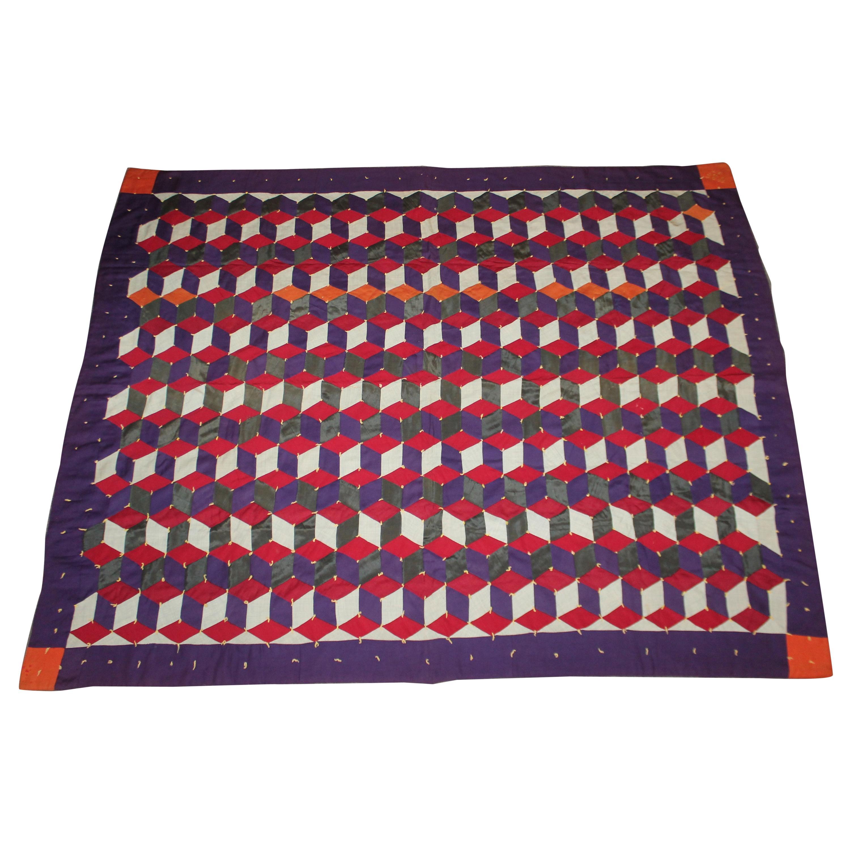 Amish Antique Quilt, Wool Tumbling Blocks, Signed WRF 1917