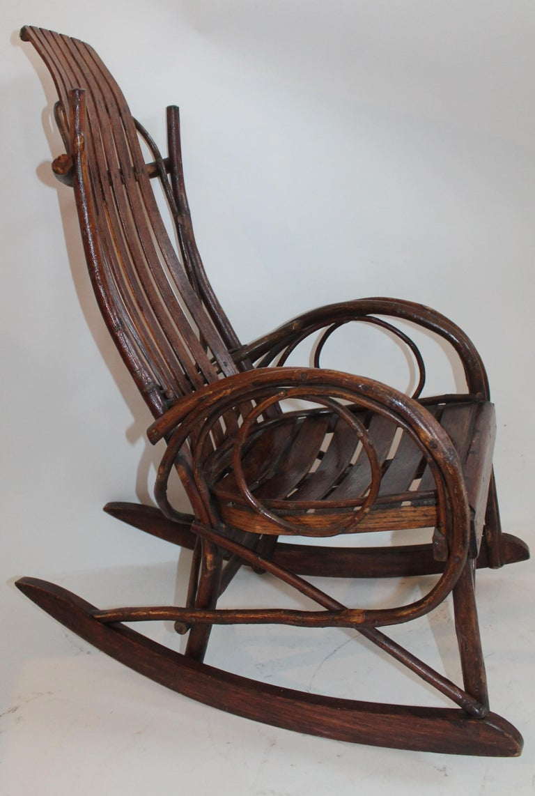 Country Amish Bent Wood Child's Rocking Chair For Sale