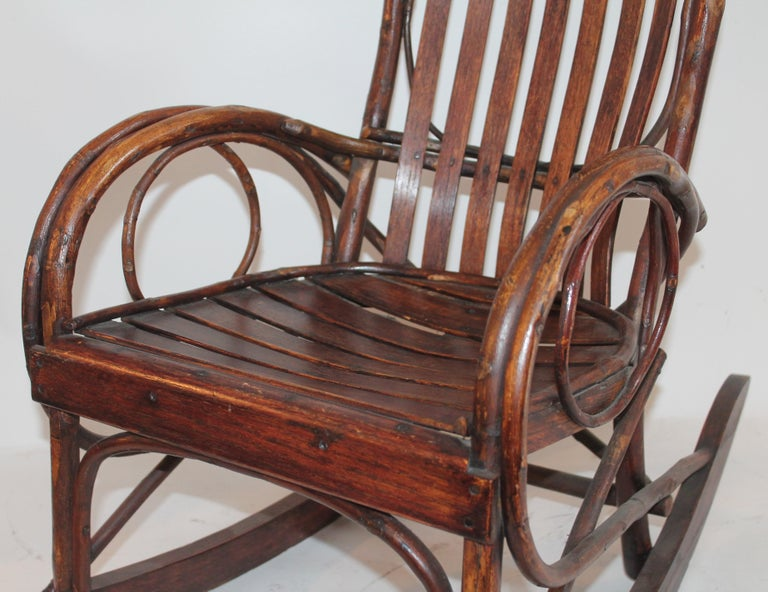 20th Century Amish Bent Wood Child's Rocking Chair For Sale