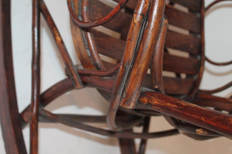 Amish Bent Wood Child's Rocking Chair For Sale 1