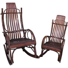 Amish Bent Wood Rocking Chairs, Adults and Child's, 2