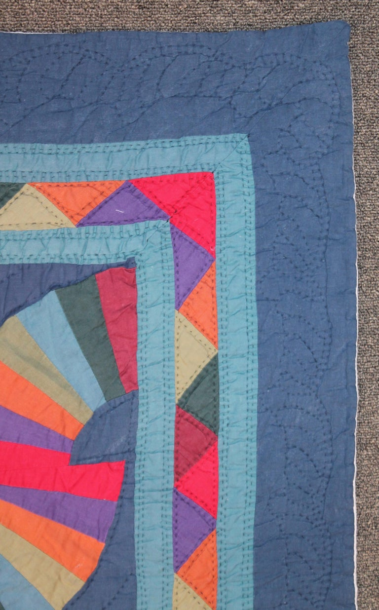 Adirondack Amish Fan Quilt from Ohio, 1950s For Sale