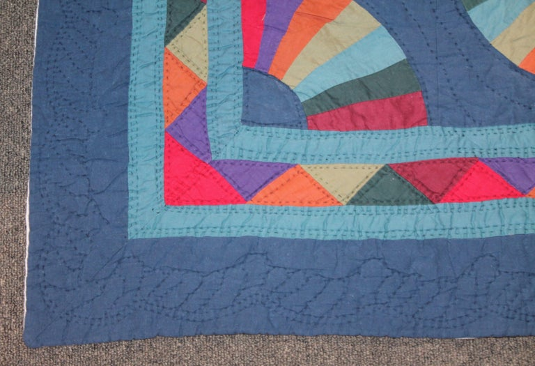 American Amish Fan Quilt from Ohio, 1950s For Sale