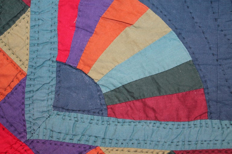 Amish Fan Quilt from Ohio, 1950s In Good Condition For Sale In Los Angeles, CA