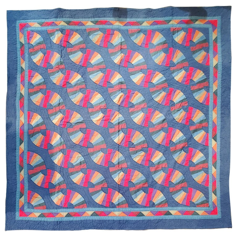 Amish Fan Quilt from Ohio, 1950s For Sale
