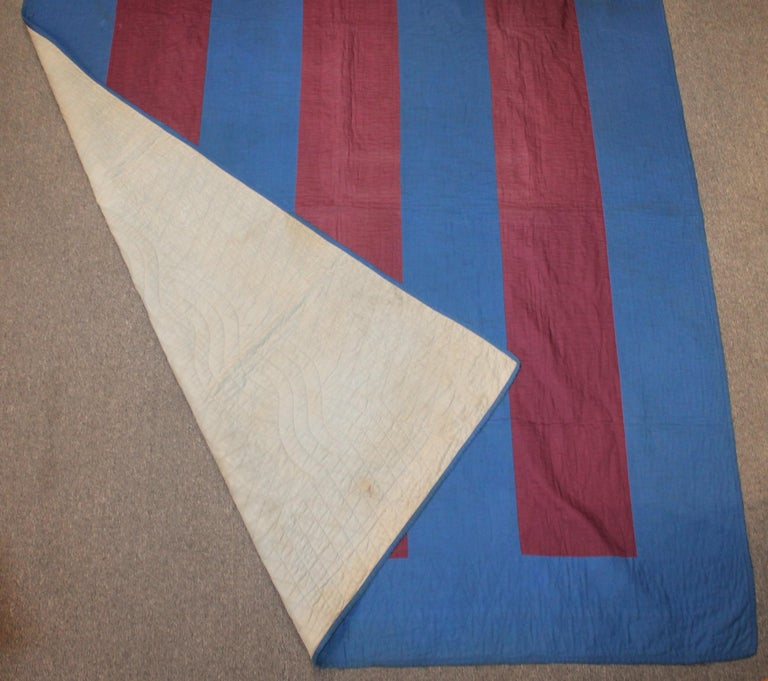 Adirondack Amish Lancaster Co. Early Floating Bars Quilt For Sale