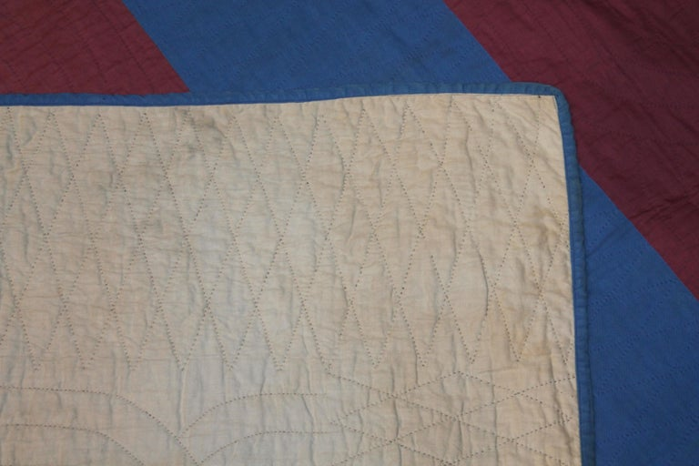 Wool Amish Lancaster Co. Early Floating Bars Quilt For Sale