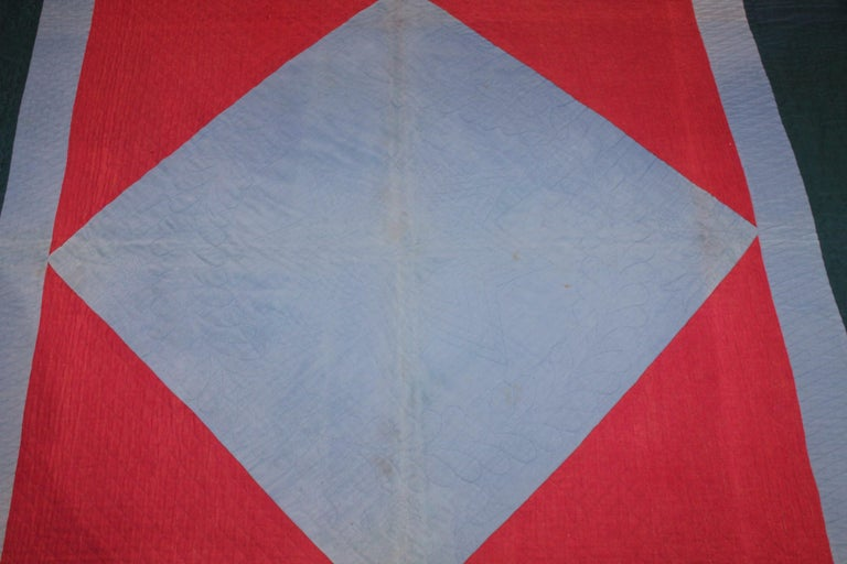 American Amish Lancaster, County Pennsylvania Wool Diamond in a Square Quilt For Sale