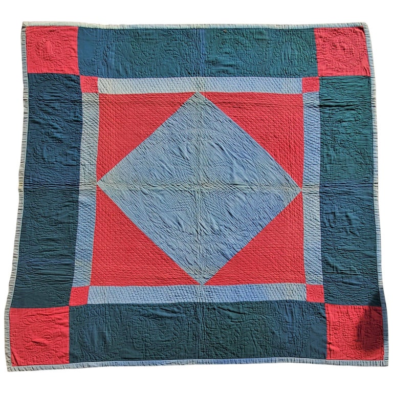 Amish Lancaster, County Pennsylvania Wool Diamond in a Square Quilt For Sale