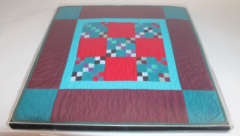 20th Century Amish Mounted Doll Quilts in Plexi Glass For Sale