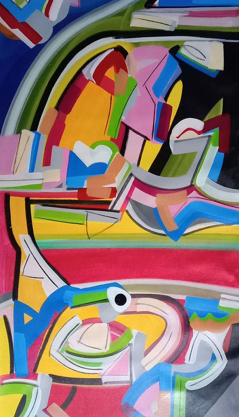 Abstract Painting, Acrylic on canvas, Band of colors by Amit Kalla