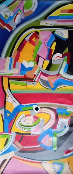 "Abstract Painting, Acrylic on canvas, Band of colors by Amit Kalla ""In Stock"""
