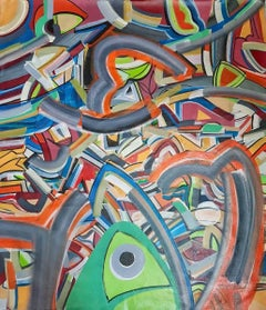 """Abstract Painting, Acrylic on Canvas by Contemporary Artist """"In Stock"""""""
