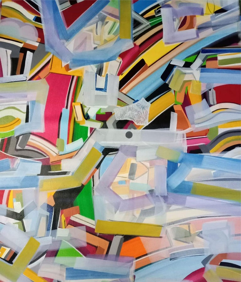 Abstract Painting, Acrylic on canvas, White, Red, Blue Yellow Colours