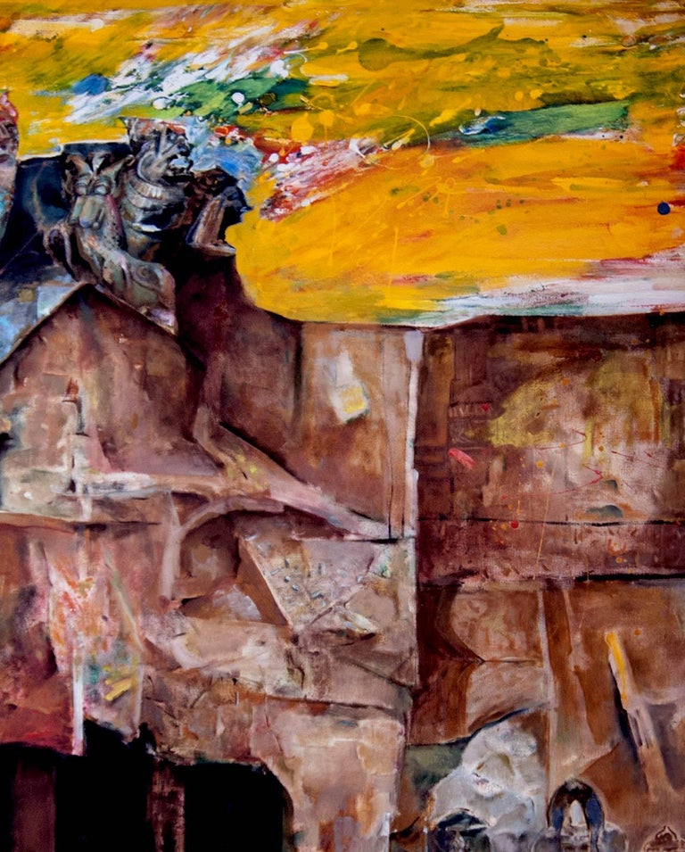 Amitabh Sengupta - Changing Rock I - 60 x 60 inches (unframed size) Oil on canvas  ** This work will be shipped in roll form to save on shipping cost.  Mythscape Series : This series emerged in late nineties when the Artist returned to India after