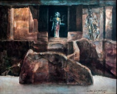 """Deity, Mythscape Series, Structures, Indian Art, Oil on canvas, Brown """"In Stock"""""""