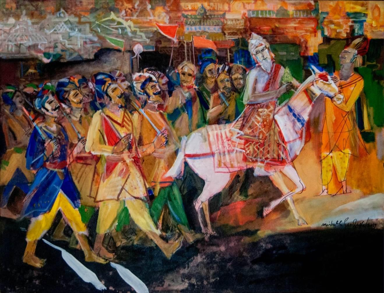 """Indian Scape Oil on Canvas by Modern Artist """"In Stock"""""""