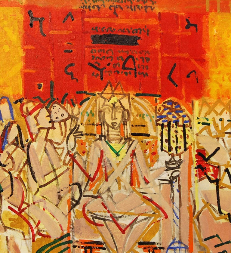 Inscription Series III, Acrylic on Canvas, Red, Yellow, Indian Artist