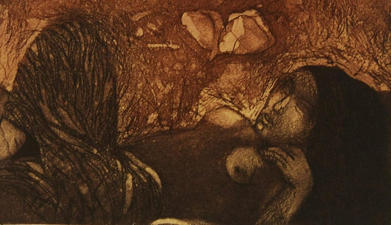Day Dream, Etching on paper, Brown, Black colors by Indian Artist