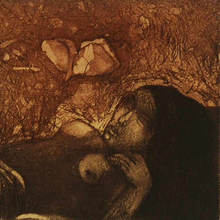 Amitabha Banerjee - Day Dream - 6 x 10 inches (unframed size) Etching on paper Inclusive of shipment in roll form.  About the Artist and his work : Born : In 1929 born in Barisal, Bangladesh.  Education : 1948 - Amitabha Banerjee studied at the