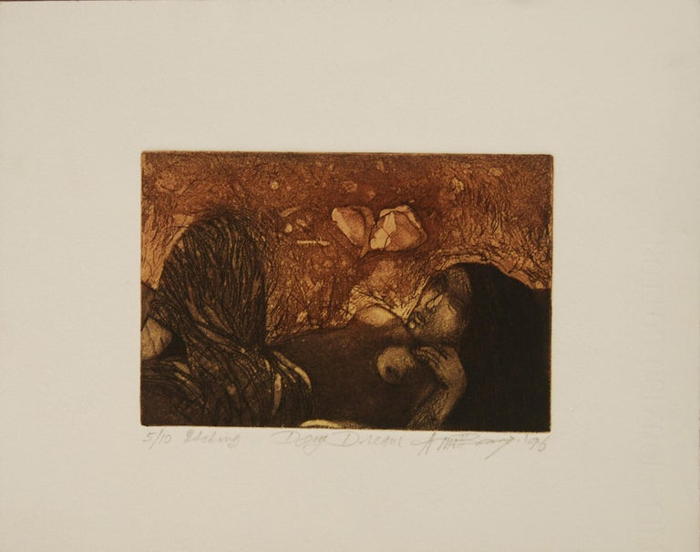 """Amitabha Banerjee Figurative Painting - Day Dream, Etching on paper, Brown, Black colors by Indian Artist """"In Stock"""""""