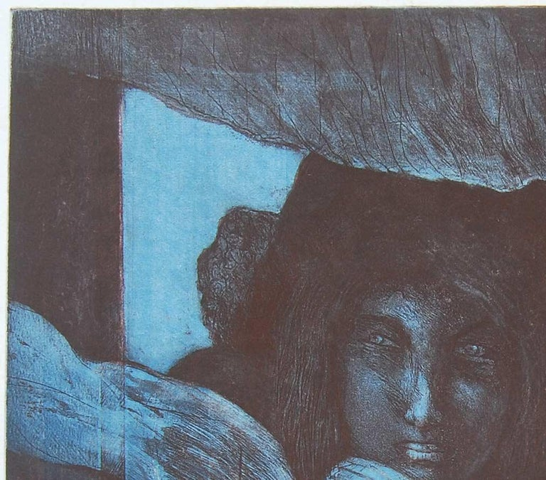 Night Call : Gorgeous work by Amitaha Banerjee in Etching on paper - Print by Amitabha Banerjee