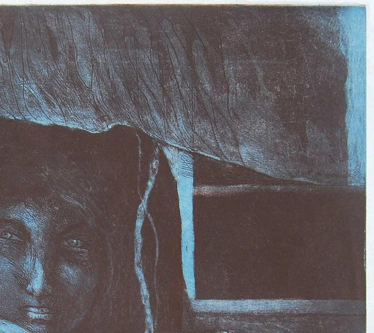 Night Call : Gorgeous work by Amitaha Banerjee in Etching on paper - Modern Print by Amitabha Banerjee