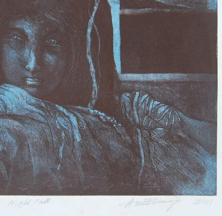 Night Call : Gorgeous work by Amitaha Banerjee in Etching on paper - Gray Figurative Print by Amitabha Banerjee