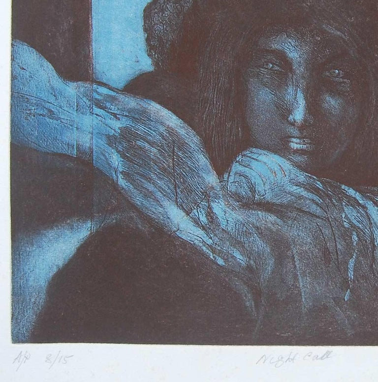 Amitabha Banerjee - Night Call - 12.5 x 15.5 inches ( unframed size) Etching on paper Inclusive of shipment in roll form.  About the Artist and his work : Born : In 1929 born in Barisal, Bangladesh. Education : 1948 - Amitabha Banerjee studied at