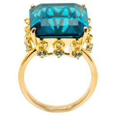 Ammanii Blue Topaz Cocktail Ring with Charms Vermeil Gold