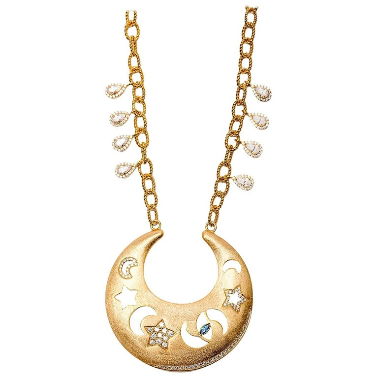 Ammanii Celestial Necklace with Moon, Stars and Protective Eye in Vermeil Gold For Sale