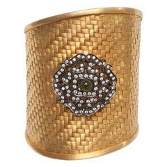 Ammanii Handwoven Vermeil Gold Cuff with Silver Motif