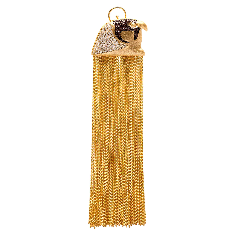 Ammanii Head of Horus Statement Earrings Vermeil Gold with Long Tassels