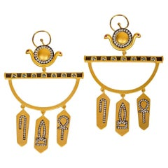 Ammanii Hoop Earrings with Topaz and Zircon Hieroglyphic Amulets in Vermeil Gold