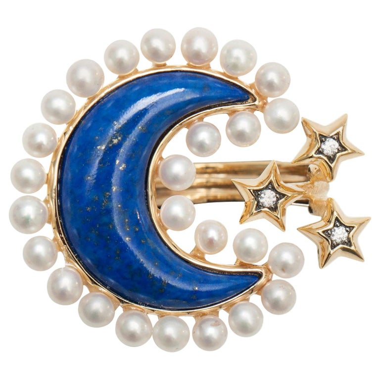 Ammanii Pearls and Lapis Lazuli Moon and Stars Vermeil Cocktail Ring For Sale