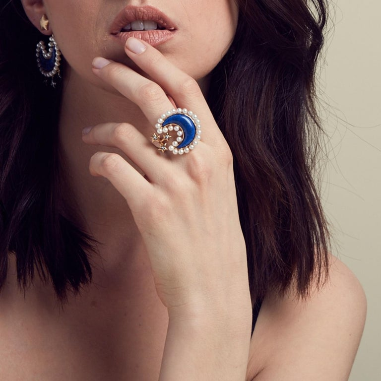 Contemporary Ammanii Pearls and Lapis Lazuli Moon and Stars Vermeil Gold Cocktail Ring For Sale